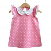 Dívčí šaty s límečkem - růžový puntík