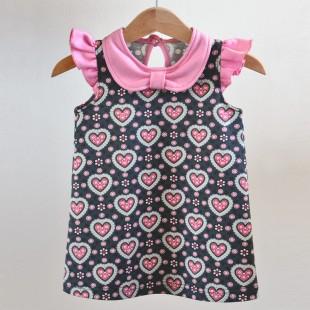 Dívčí šaty s límečkem - srdíčko